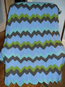 Zigzag crocheted afghan by Mary Warner, 2014.