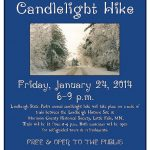 Candlelight Hike flier, designed by Mary Warner for the Morrison County Historical Society, 2014.