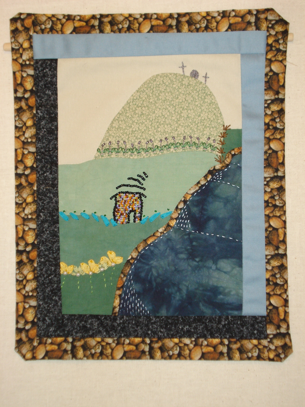 The Tin Man's House, applique, ribbon embroidery, beadwork, by Mary Warner.