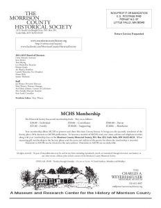 Morrison County Historical Society newsletter, Vol. 27, No. 3, 2014, page 8, designed by Mary Warner.