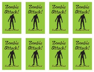 Zombie Attack Cards (3), designed by Mary Warner for the AASLH Annual Conference, 2014.