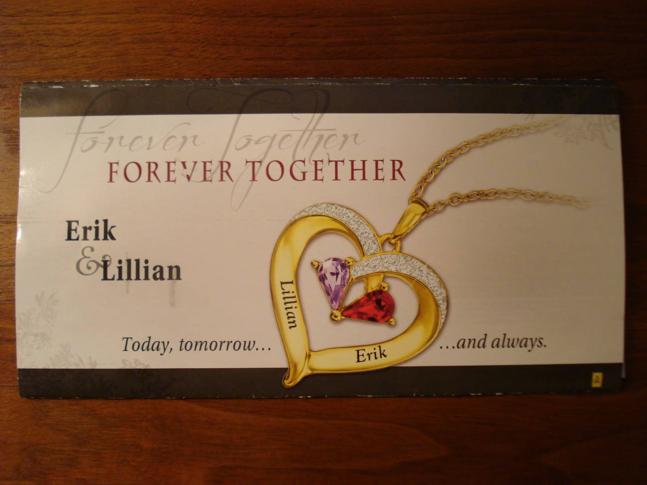 """Forever Together - Erik & Lillian"" - advertising mailer, October 2016."