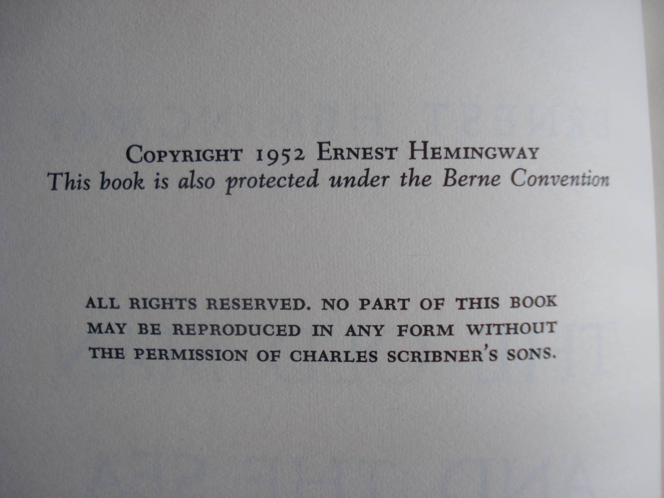 "Copyright page, ""The Old Man and the Sea"" by Ernest Hemingway, 1952. Photo by Mary Warner."
