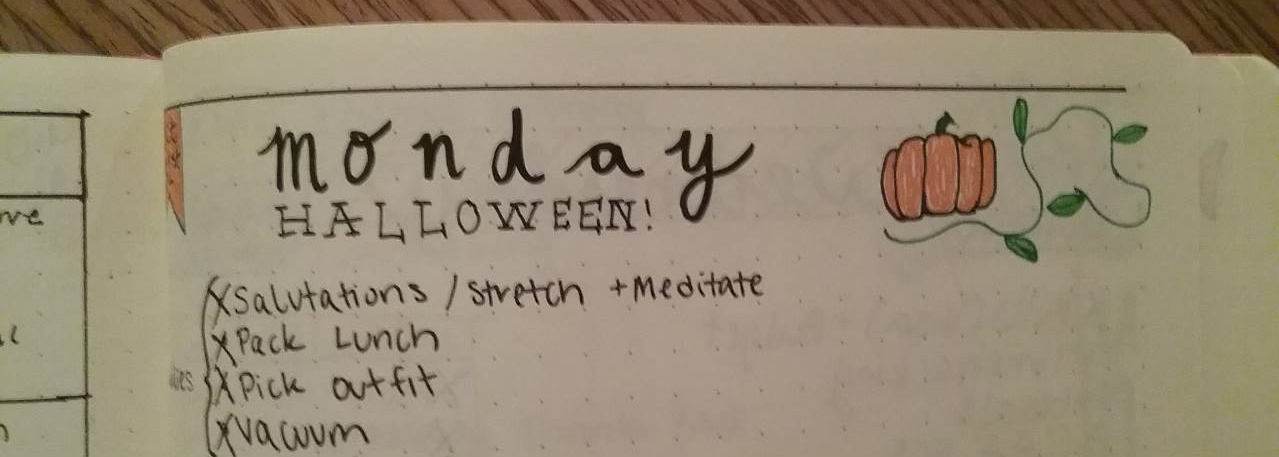 Olivia Seonbuchner, Bullet Journal, Halloween, 2016.