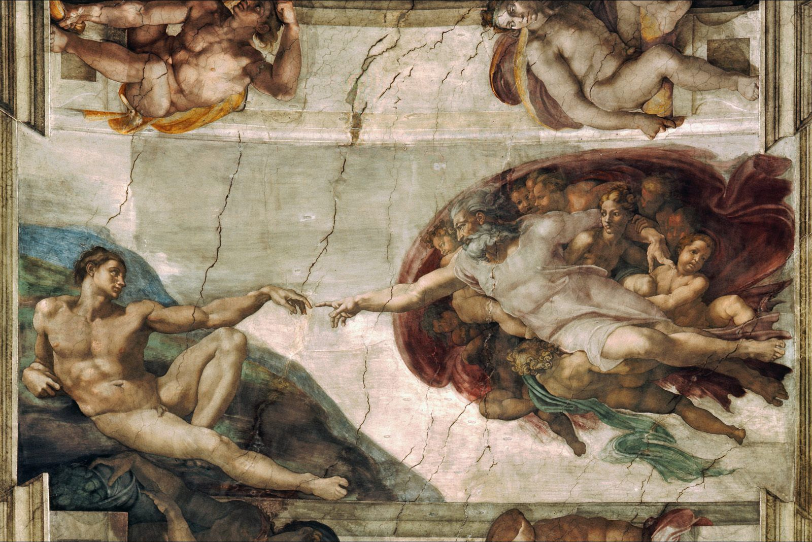 "Michelangelo's ""Creation of Adam,"" fresco from the ceiling of the Sistine Chapel, painted c. 1508-1512. Image source: https://upload.wikimedia.org/wikipedia/commons/0/0c/Creation_of_Adam_Michelangelo.jpg"