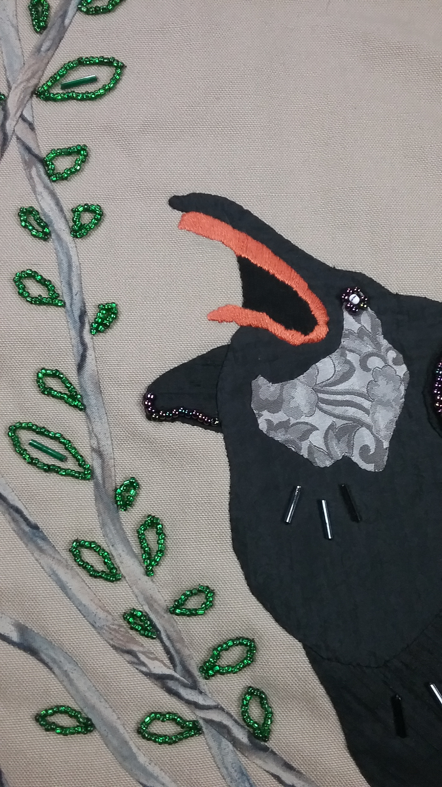 Corvid bag, pouch detail, applique and bead applique, by Mary Warner, 2017.