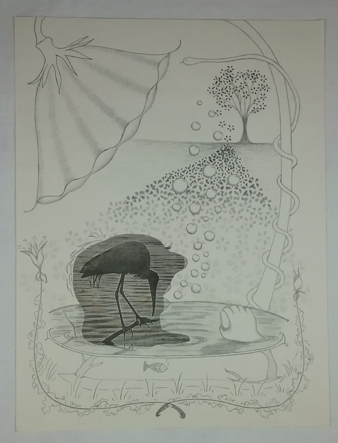 Bathtub man in nature, part of a series using a photocopied imaged of a heron, by Mary Warner.