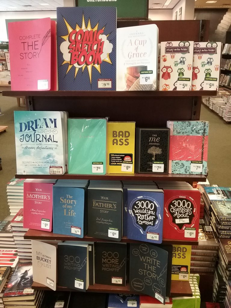 Beautiful journals at Barnes & Noble, February 2019.