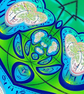 Digital art, blue-green abstract clock for The Pragmatic Historian, January 2019.