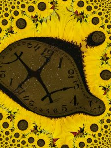 Digital art, sunflower abstract clock for The Pragmatic Historian, December 2018.
