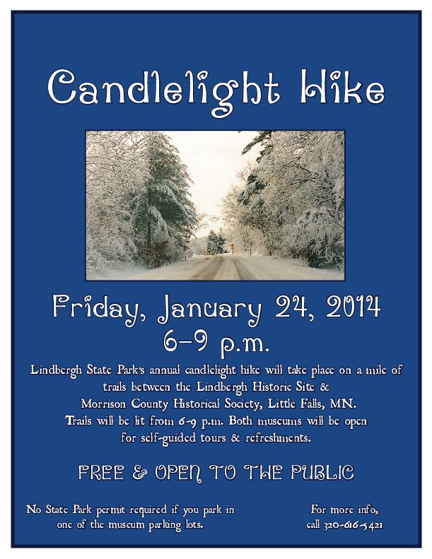 Candlelight Hike Flier, by Mary Warner, 2014.