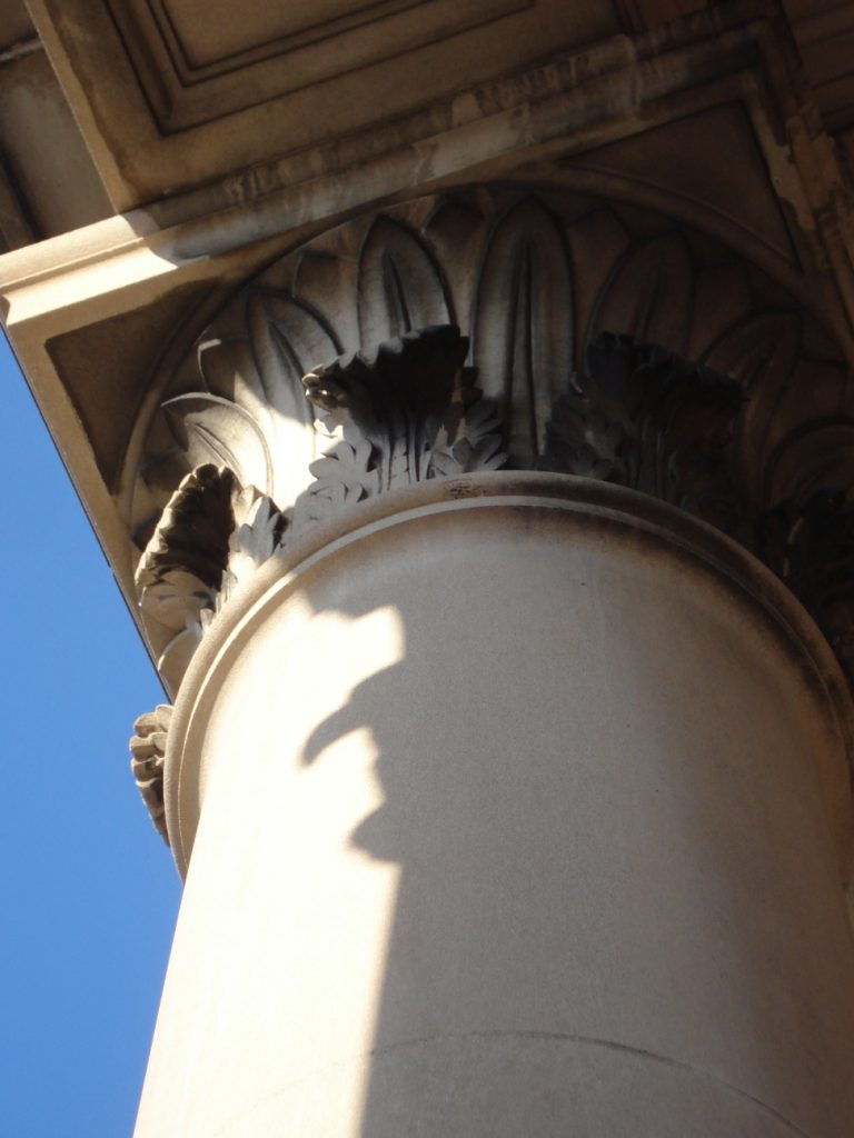 Top of Corinthian column, Post Office, Little Falls, MN, Mary Warner, 2014.