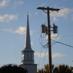 Church steeple & telephone pole, Mary Warner, 2014.