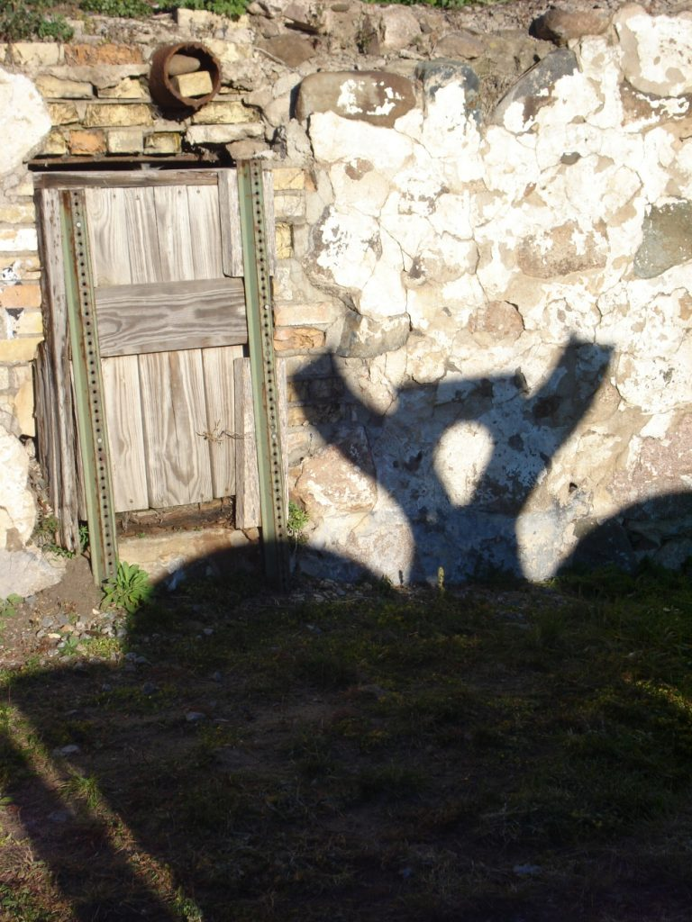 Shadow on paper mill ruins, Little Falls, MN, Mary Warner, 2014.