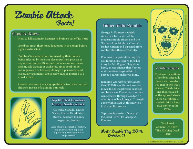 Zombie Attack Facts, handout made for museum disaster planning session at AASLH annual conference, by Mary Warner, 2014.