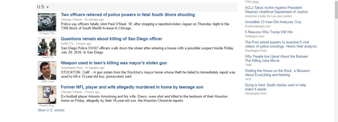 Violent deaths in Google News headlines, July 30, 2016.