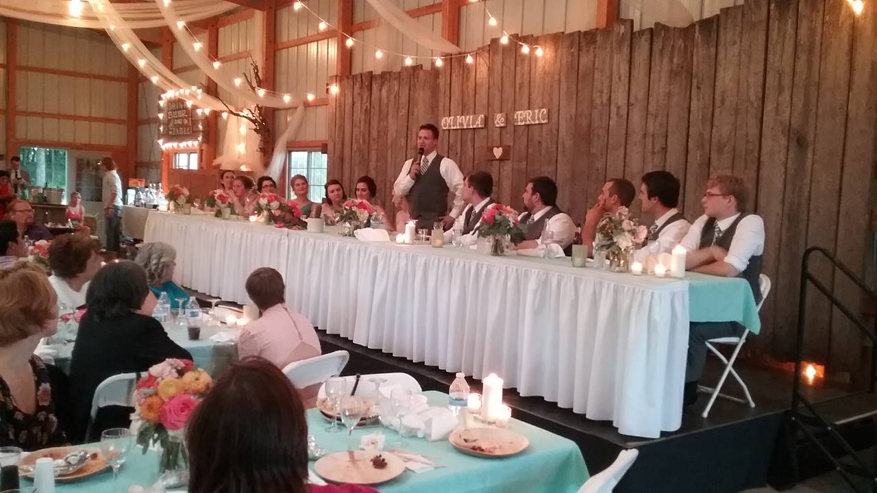 Olivia's Eric giving his wedding speech. September 10, 2016.