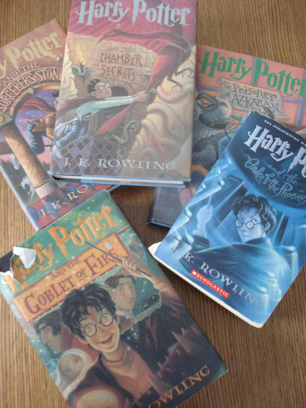 First five Harry Potter books, photo by Mary Warner, November 21, 2016.