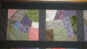 Two squares from crazy quilt by Mary Warner, April 3, 2017.