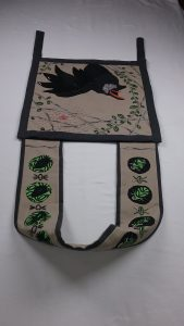 Corvid bag, view from top, applique and bead applique, by Mary Warner, 2017.