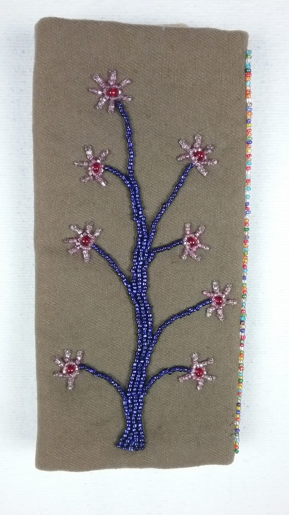 Bead applique needle case, back, by Mary Warner, 2017.