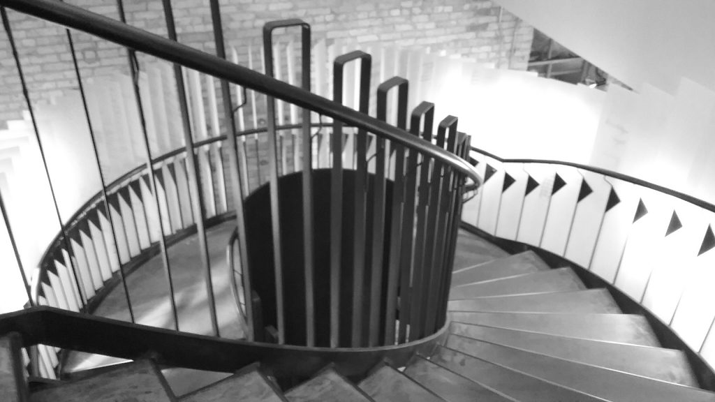 Stairs at the Center for the Open Book, Minneapolis, MN, 2017.