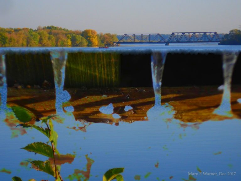Trestle With Escaping Water, blended photo by Mary E Warner, Dec 2017