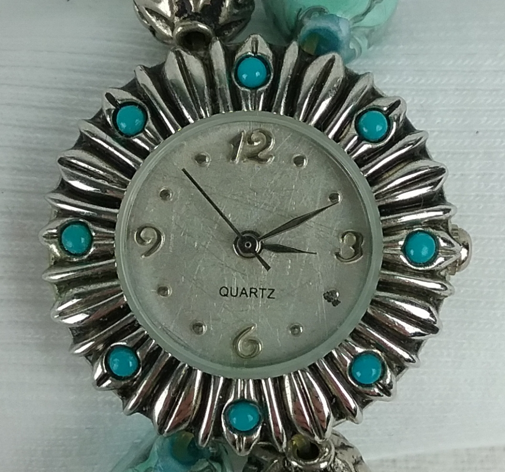 Silver & turquoise wristwatch