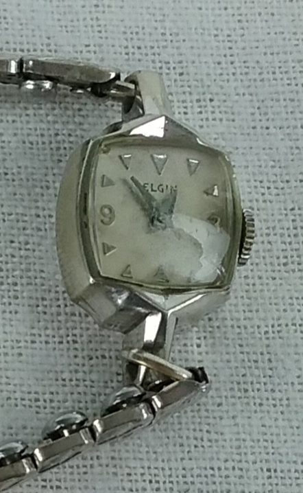 Old silver Elgin wristwatch, 2018.