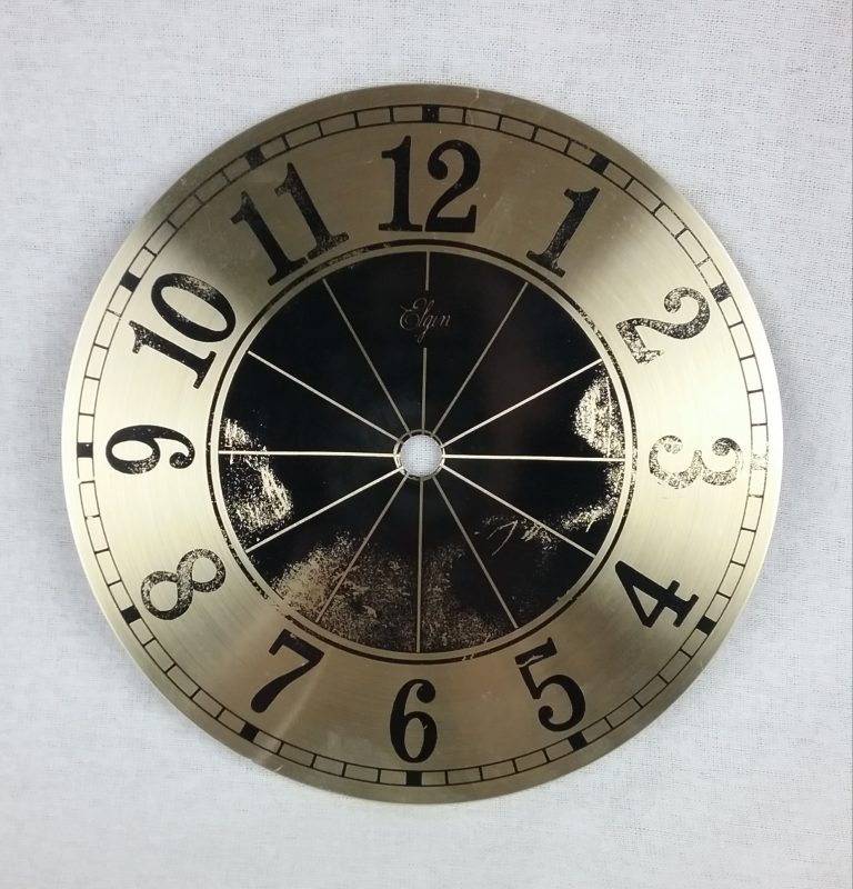 Gold and black clock face, 2018.