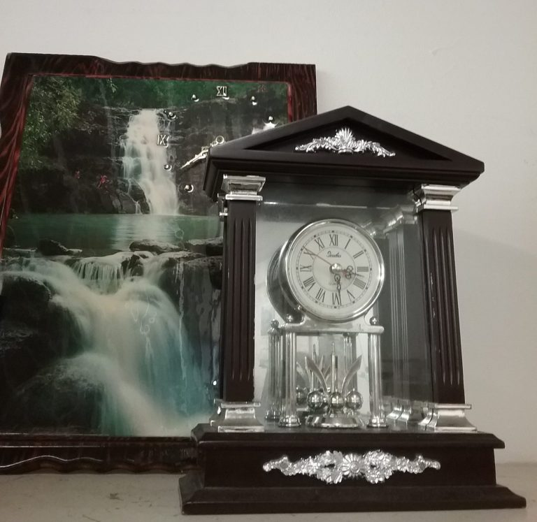 Waterfall clock and house-shaped clock, 2018.