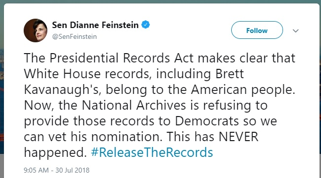 Senator Dianne Feinstein tweet regarding the Presidential Records Act and National Archives , July 30, 2018.