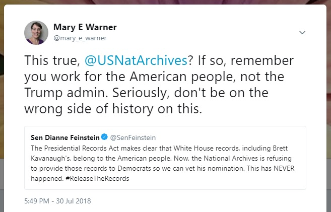 Mary Warner's reply to the National Archives regarding Senator Dianne Feinstein's tweet, July 30, 2018.