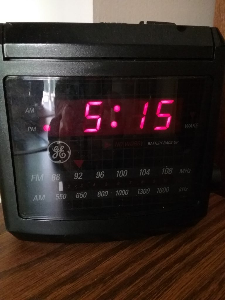 Digital clock with ruby numbers, 2018.