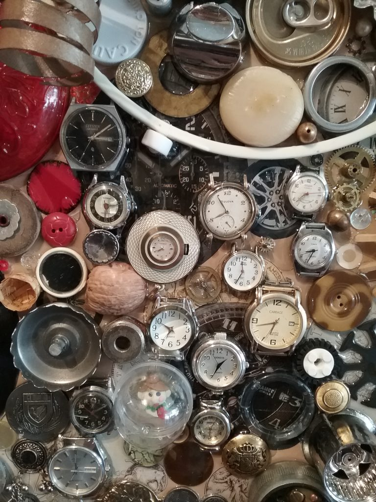 "Detail of ""Round About Collage"" by Bev Gold on display at Great River Arts, Little Falls, MN, 2018."