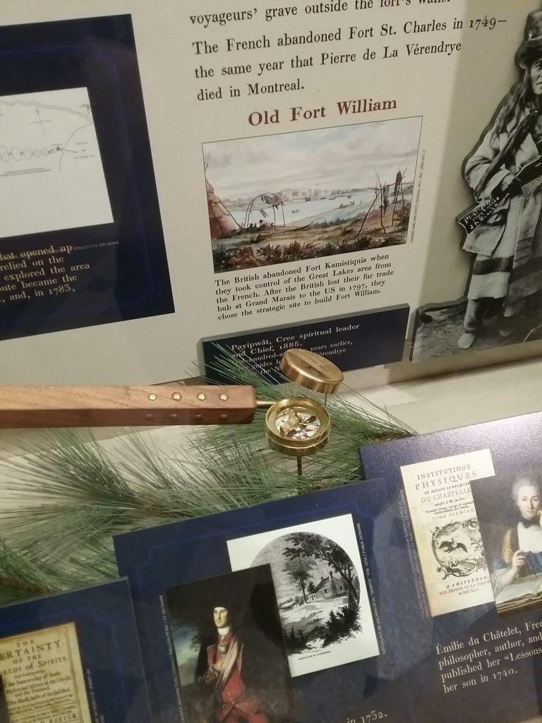 A detail from the traveling exhibit, The Fur Trade in Northwest Minnesota, created by the regional collaborative Minnesota's Historic Northwest. This portion was at the Beltrami County Historical Society in Bemidji, MN, October 2018. Note that I zeroed in on the compass, which has clock-like aspects. I was looking everywhere for clocks in the building. Surprising for The Pragmatic Historian, eh?