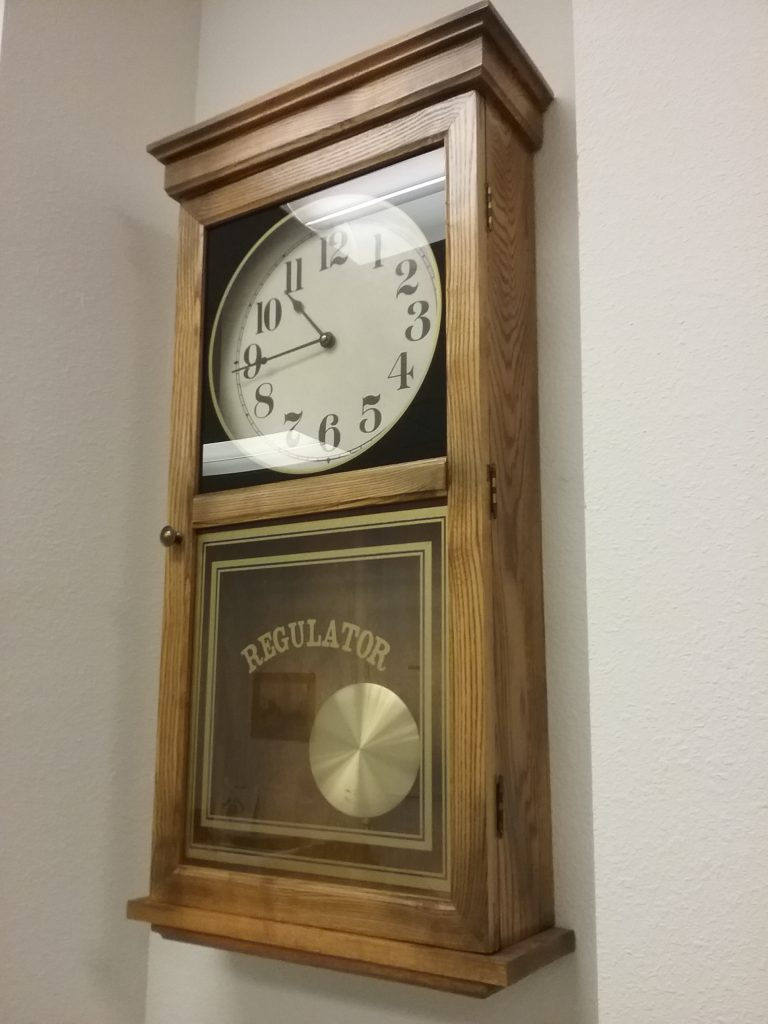 Regulator clock at the Beltrami County Historical Society, 2018.