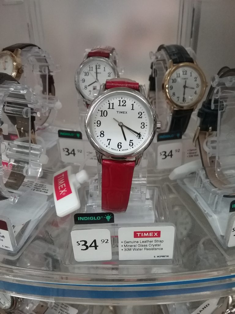New Timex watch with snazzy red band, $34.92, photo 2018.