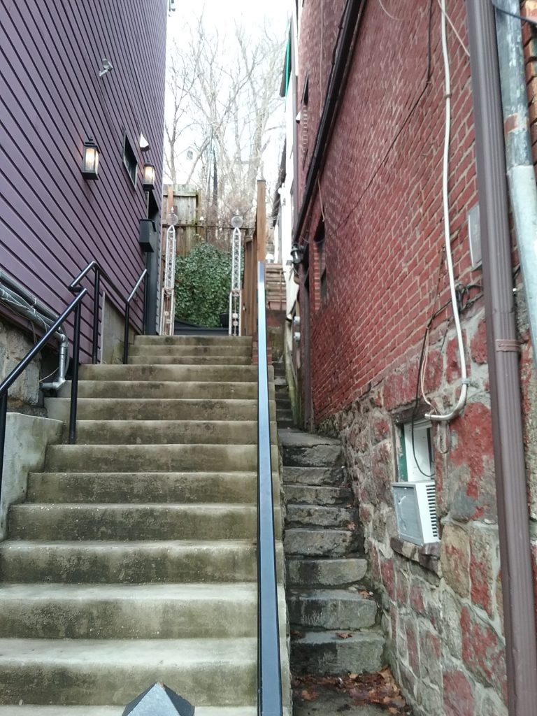 When you've got hills, you've got stairs. Here are two sets of stairs on adjoining properties, Ellicott City, Maryland, 2019.