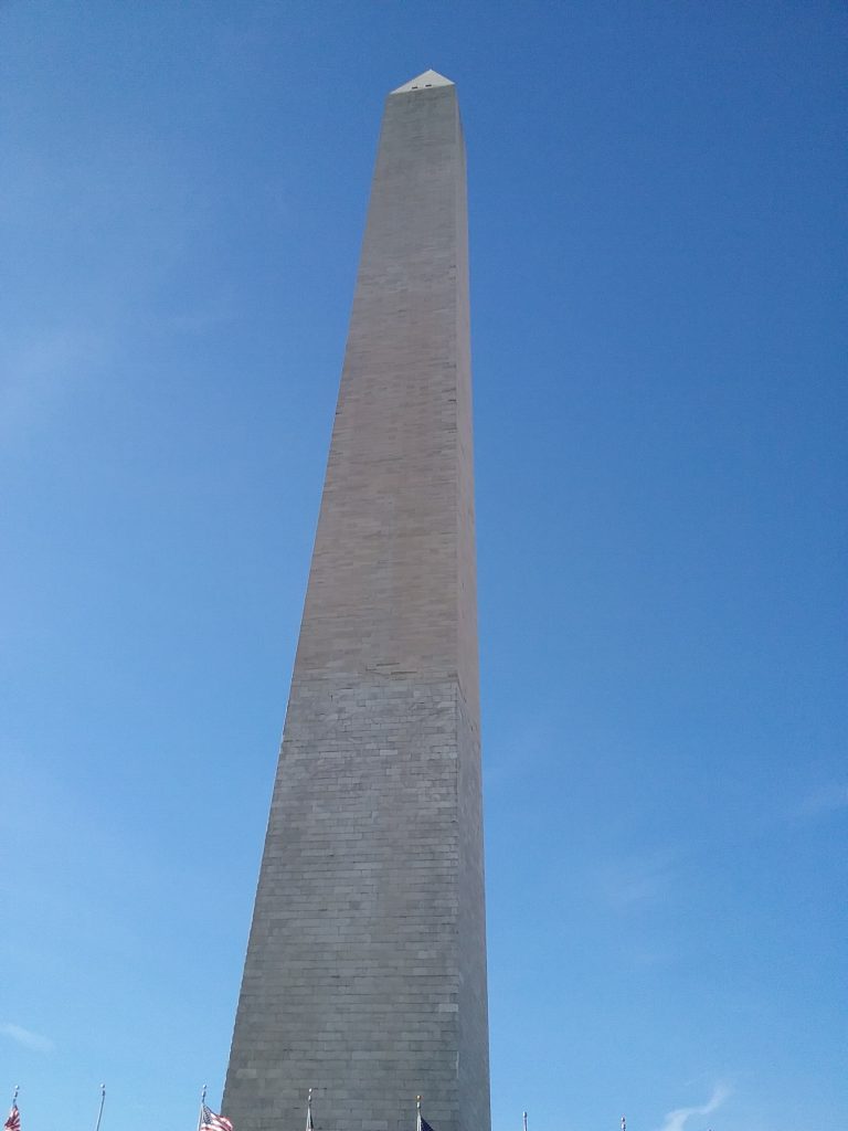 The Washington Monument from a rakish angle, 2019.