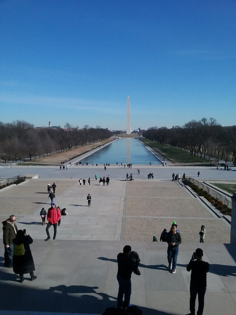 Looking back down the National Mall from the top step of the Lincoln Memorial, 2019.