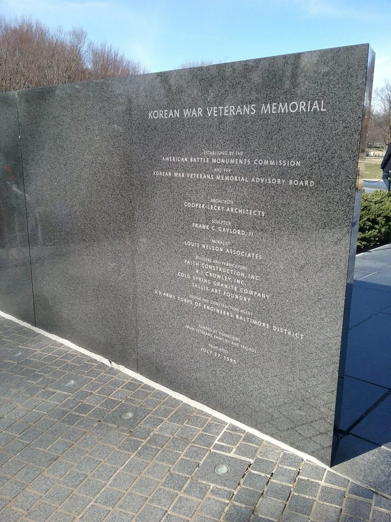 Acknowledgements for the Korean War Veterans Memorial, 2019.