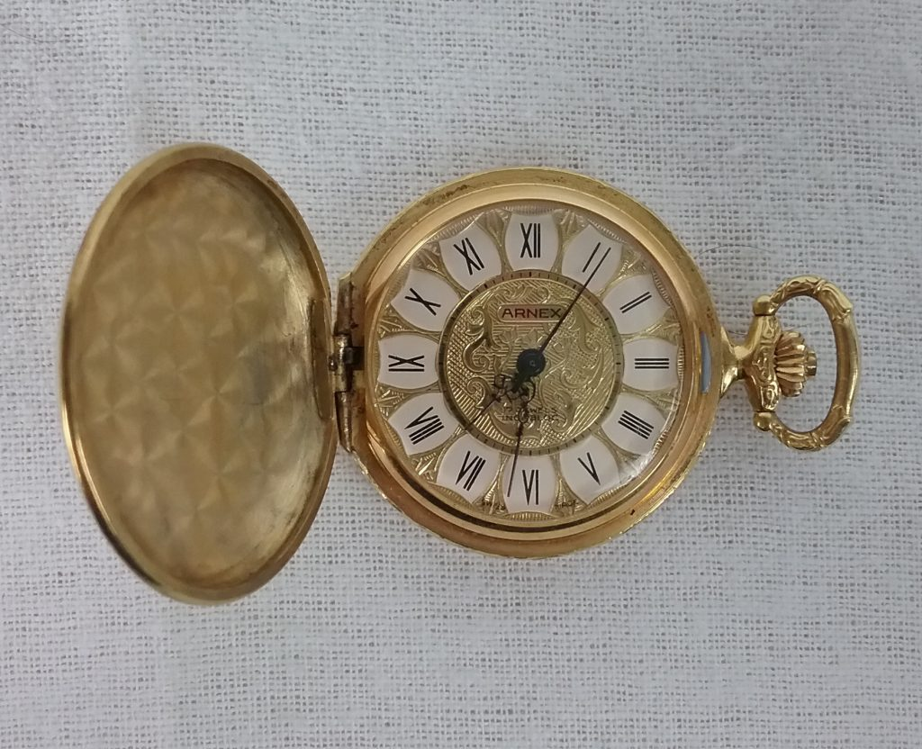 This pocket watch was from my Grandma Bea, who gave me my first sewing machine and encouraged my fiber arts interests, 2018.