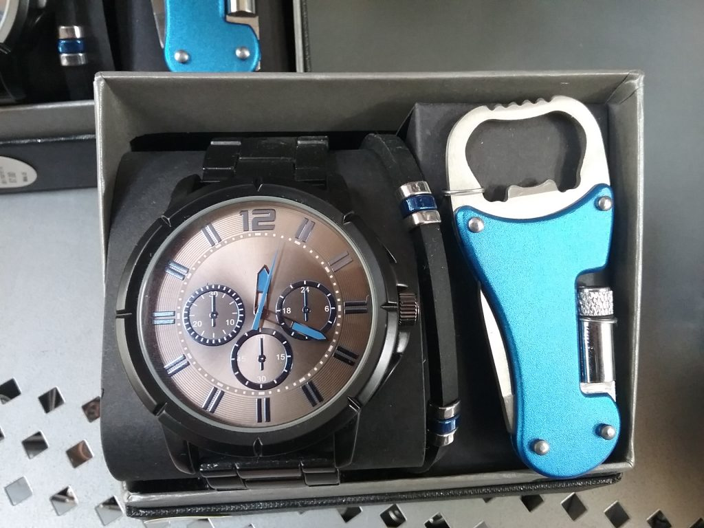 Wristwatch with can opener multi-tool, 2019.