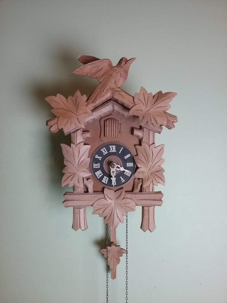 Wood cuckoo clock, 2018. If carbon remains sequestered in wood objects that are still intact, think about how preserving wood objects such as this keeps that carbon out of the atmosphere. Historic preservation is environmental preservation.