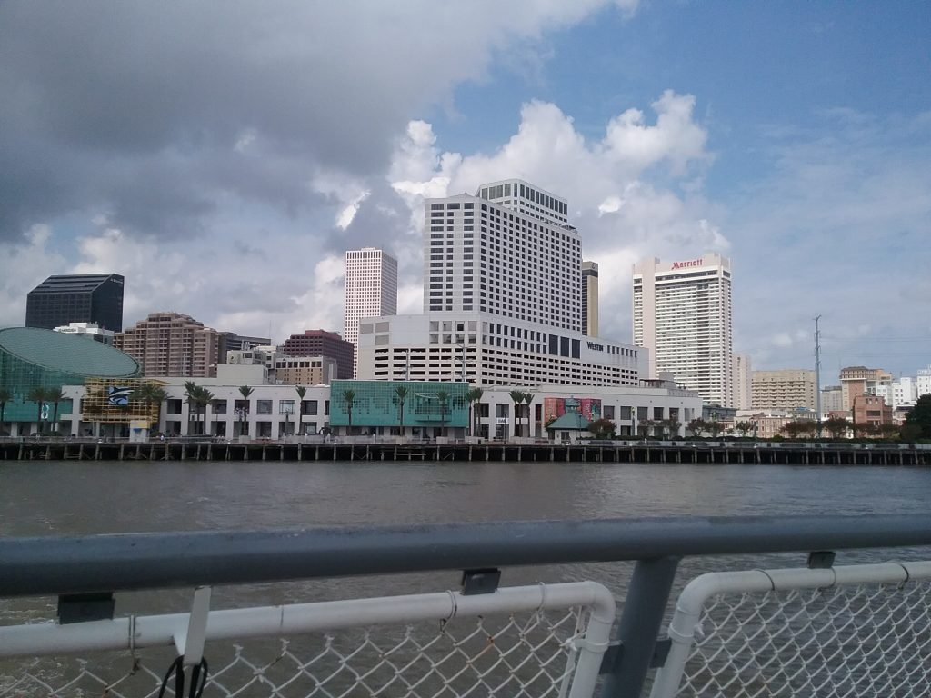 Crossing the Mississippi River on a ferry over to Algiers Point, this is the view of New Orleans, Louisiana, near the Canal Street, August 2019. (If this feels a little random at this point in the travelogue, bear with me. I'm going someplace with this.)