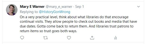 Reply tweet from @mary_e_warner regarding public trust in libraries, September 1, 2019.