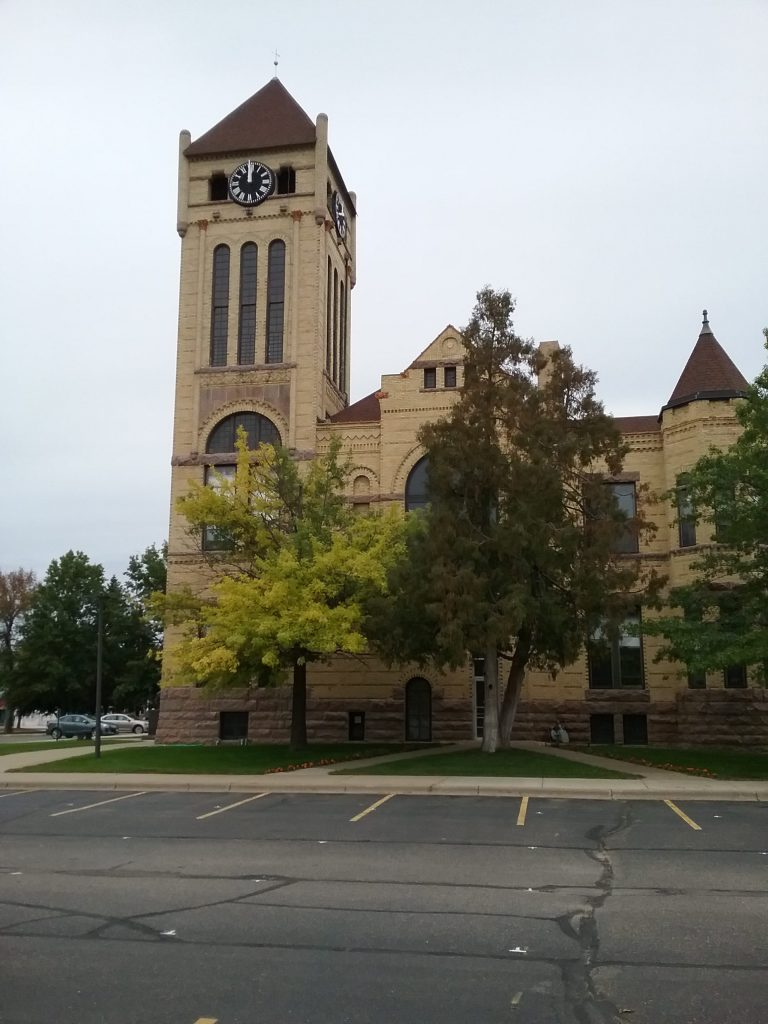 "The clock tower of the Morrison County Courthouse in Little Falls, MN, was a popular place to take ""aerial"" photos of the city because of its high vantage point. Mary Warner, 2019."