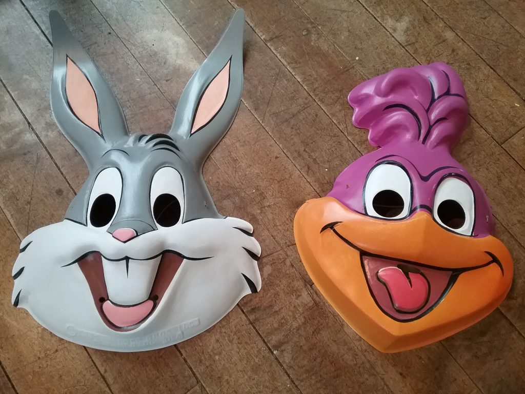 Bugs Bunny mask, 1989, and Road Runner mask, 1987.