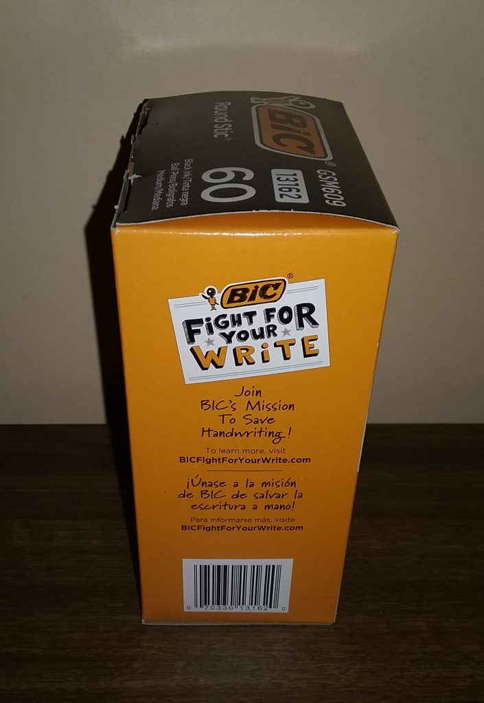 """BIC Round Stic pen box with """"Fight for Your Write"""" promotion on the side, November 2019."""